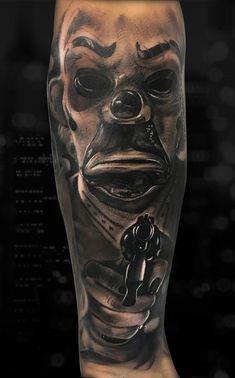 80 Tatuagens de Palhaço incríveis para você se inspirar - Fotos e Tatuagens Chicanas Tattoo, Clown Tattoo, Scary Tattoos, Halloween Tattoo, Badass Tattoos, Grey Tattoo, Tattoo Drawings, Calf Sleeve Tattoo, Chicano Tattoos Sleeve