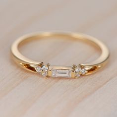 Engagement Bands Baguette Cut Diamond Wedding Band Women Cluster Ring Antique Unique Promise Dainty Yellow Gold Stacking Anniversary Gift for Her - Baguette Engagement Ring, Yellow Engagement Rings, Engagement Bands, Gold Wedding Rings, Bridal Rings, Vintage Diamond Wedding Bands, Cluster Ring, Yellow Gold Rings, White Gold