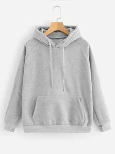 Kangaroo Pocket Drawstring HoodieFor Women-romwe - Alexis is Word! Cute Lazy Outfits, Cool Outfits, Stylish Hoodies, Plain Hoodies, Cute Sweatshirts, Teen Fashion Outfits, Fashion Goth, Sweater Hoodie, Grey Hoodie