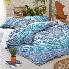 BluSpirits 100% Cotton Ombre Duvet Cover Sets, Full/Queen Size, two pillow covers included.