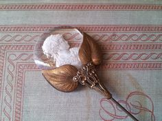 ANTIQUE HAT PIN Ornate Antique Brass & Frosted by PureJoyVintage, $110.00
