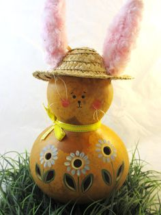 Easter  bunny gourd lamp decoration handpainted by KaoriKreations, $33.00