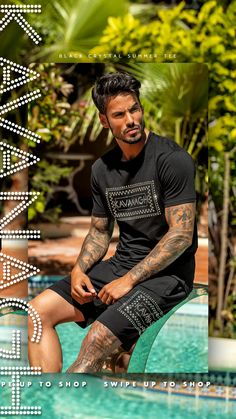 Have you discovered all new Gianni Kavanagh's Twin Sets? Here you have the Black Crystal Summer Twin Set, also available in White! Click here to get to know Gianni Kavanagh's Whole Twin Sets Collection! Black Crystals, Streetwear Fashion, Hot Guys, What To Wear, Twins, Street Wear, Casual, Summer, Men