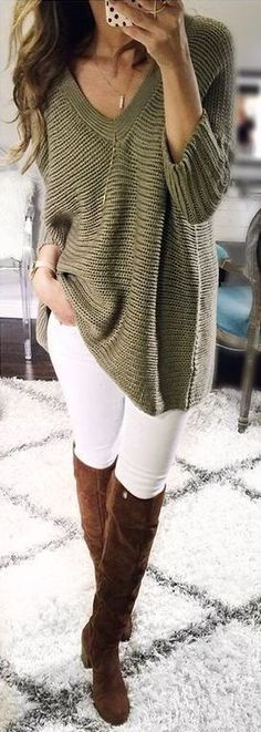 #fall outfits women's green scoop neck 3/4 sleeve sweater; white pants; brown knee high boots outfit
