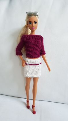 Barbie Knitting Patterns, Beautiful Barbie Dolls, Evening Outfits, Barbie Furniture, Barbie And Ken, Crochet Crafts, Barbie Clothes, Clothing Patterns, Lace Skirt
