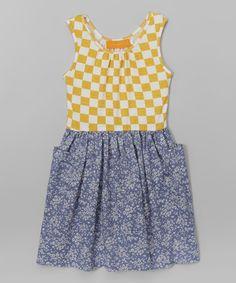 6092ce0927b4 Blue   Yellow Checkerboard Denim Dress - Toddler   Girls