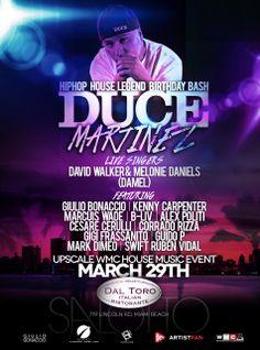 WMC 2014 Update! Comenzamos la semana confirmando más presentaciones en Miami. Esta vez en el Bday Bash de Duce Martinez, leyenda del Hip Hop House // Fiesta donde también estará Giulio Bonaccio, Kenny Carpenter, David Walker y más!