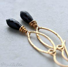 Black Spinel Gemstone Dangle Earrings in by msbelle