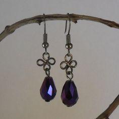 Purple Swarovski Crystal And Black Wirework Earrings
