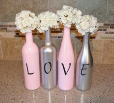 Valentines wine bottle decor. Pink and silver Love.