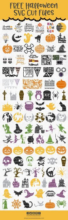 Free Hand Lettered Cut FIles for your Silhouette CAMEO or Cricut cutting machine! So many craft ideas for these cute cut files! SVG, DXF and PNG files. Cricut Air, Cricut Vinyl, Cricut Fonts, Svg Files For Cricut, Halloween Vinyl, Halloween Party, Halloween Fonts, Halloween Crafts, Halloween Images