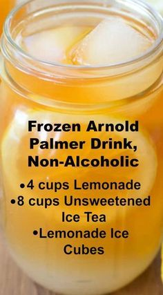 Frozen Arnold Palmer Drink Recipe Non-Alcoholic Crisp and refreshing. Its a delicious non-alcoholic beverage made with lemonade ice cubes lemonade and ice tea. Use lemonade ice cubes to make sure the drink never becomes weak and watery. Fruit Drinks, Drinks Alcohol Recipes, Punch Recipes, Non Alcoholic Drinks, Tea Recipes, Alcoholic Drinks Made With Lemonade, Nonalcoholic Summer Drinks, Thanksgiving Drinks Non Alcoholic, Juice