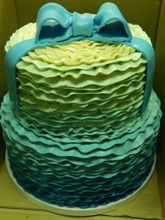 Little mermaid ombre baby shower cake