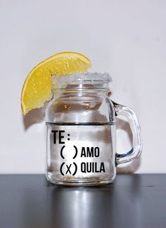 Set of four tequila shot glass mason jars. 21st Birthday Quotes, 21st Birthday Gifts, 21 Birthday, Birthday Ideas, Tequila Shots, Shot Glasses, Diy Glasses, Cute Gifts, Mason Jars