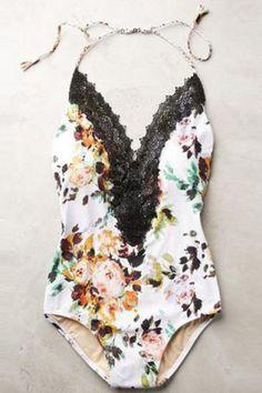Sexy Spaghetti Strap Floral Print Spliced One-Piece Women's SwimwearSwimwear   RoseGal.com