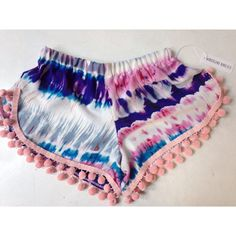 Tie Dye Pom Pom Short on Etsy these are what I wanna make!! @Wendy Felts Felts Felts Felts Felts Smith