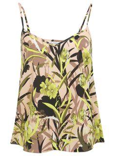 V neck shape cami in floral palm print. 100% Polyester.