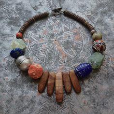 Indonesian Beads, turkoman silver bead, corall, glass, wooden beads etc. Handmade by Elena Erda