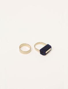 Rough-Cut Lapis Ring and Flat Band | Kathleen Whitaker