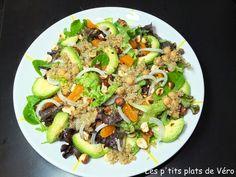 Les p'tits plats de Véro: Salade de jeunes pousses, avocat et quinoa, vinaig... Vinaigrette, Calories, Cobb Salad, Food, Honey, Quinoa Salad, Chickpeas, Kitchens, Dish