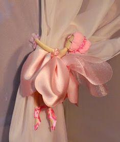 Fairy curtain tie back Curtain Holder, Curtain Tie Backs, Fairy Bedroom, No Sew Curtains, Beautiful Curtains, Flower Fairies, Little Girl Rooms, Fairy Dolls, Diy And Crafts