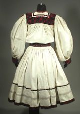 Romanian Folk Costume embroidered linen skirt & blouse OAS ethnic peasant dress