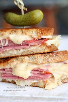 My favorite Reuben Sandwich! The delicious melted swiss cheese paired with tangy sauerkraut and good corned beef in between layers of rye bread!