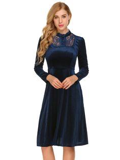 Navy blue Women Stand Neck Long Sleeve Lace Patchwork Half Button Up Pleated Velvet Casual Dress dresslink.com