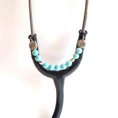 Women's Beaded Stethoscope ID Pendant Charm Jewelry Accessories Turquoise by DungleBees on Etsy