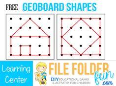 Free Geo Board Shape Cards & Hands on Learning Centers Preschool Learning, Kindergarten Math, Learning Centers, Teaching Math, Math Centers, 1st Grade Math, First Grade, Math Games, Preschool Activities