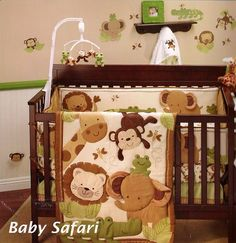 Baby Safari 8 Piece Crib Bedding Set Bumper Monkey Elephant Lion Giraffe | eBay