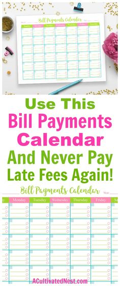 Printable Bill Payments Calendar- Tired of paying bill late fees? Never forget to pay a bill again with this handy (and cute) printable bill payments calendar! | save money, reduce your expenses, #debtFree #frugalLiving #personalFinance #printable