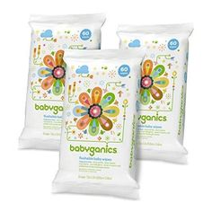 Babyganics Flushable Baby Wipes Fragrance Free 60 Count - Packaging May Vary (Pack of 3 180 Total Wipes)