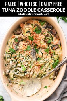 Paleo meals 283797214007137570 - Take your classic comfort food to a new healthier level with this delicious and creamy & Paleo Tuna Zoodle Casserole. Comes together quickly, and so easy as well! Zoodle Recipes, Seafood Recipes, Paleo Recipes, Paleo Meals, Paleo Food, Free Recipes, Paleo Casserole Recipes, Turkey Recipes, Paleo Diet