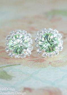 Mint earrings | mint green crystal earrings | mint green wedding | #EndoraJewellery