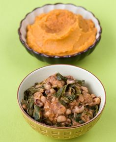 Hottie Black Eyed Peas With Ginger Mashed Sweet Potatoes & Apples