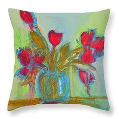 "Abstract Flowers Throw Pillow 14"" x 14""  #throwpillow #homedecor"