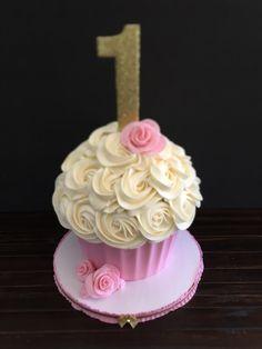 Pink, gold and white smash cake