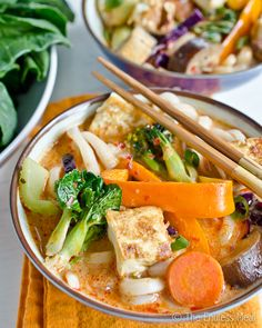 Vegetarian Thai Coconut Curry with Udon Noodles.  Healthy 5:2 diet recipes for fast days.