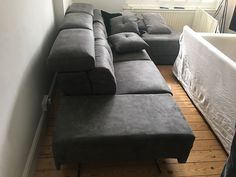 Habitat sofa in grey microfibre. Armrest deployed as an extra seating. Delivered to our client in Surrey. Modern Sofa, Modern Bedroom, Sofa Bed Mattress Cover, Leather Bed, Extra Seating, Corner Sofa, Sofa Design, Surrey, Contemporary Furniture