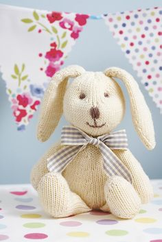 His soft body, floppy ears and embroidered features mean this little bunny's the ideal gift for a newborn #babyknits #knitting #knittedtoys