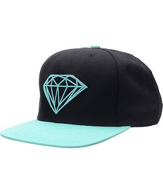 Hot and fresh off the press, the Brilliant black and blue snapback hat from Diamond Supply is all about keeping your style on point. This <b>Zumiez Exclusive</b> colorway features an all black cap, and blue bill, top button and embroidered Diamond logo at