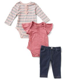 7 For All Mankind Baby Girls Newborn-24 Months Striped Bodysuit, Solid  Bodysuit,