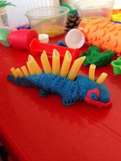 "Pasta & play dough dinosaur from Passionate About Play ("","