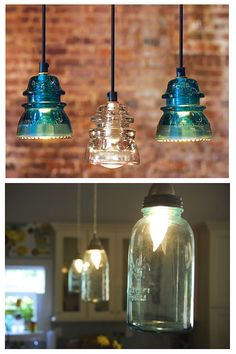 Antique Insulator Pendant Lights and Blue Mason Jar Lights