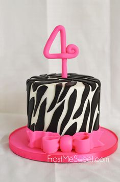 pink zebra leopard print cake FMS Cakes Girls Cakes Pinterest