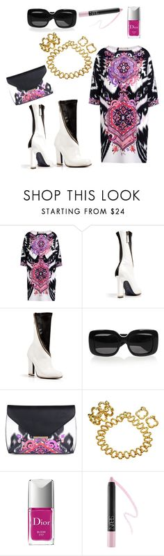"""""""Precisely Pucci"""" by barbmama ❤ liked on Polyvore featuring Emilio Pucci, Jil Sander, Bottega Veneta, Van Cleef & Arpels, Christian Dior, NARS Cosmetics, vintage, purple, sixties and swinging"""