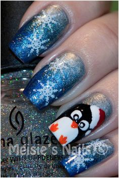I have a collection of 15 christmas penguin nail art, ideas &s of these xmas nails are fabulous and will suit your christmas costumes, choose accordingly. Christmas Nail Art Designs, Holiday Nail Art, Christmas Design, Xmas Nails, Christmas Nails, Halloween Nails, Red Christmas, Penguin Nail Art, Snowflake Nail Art