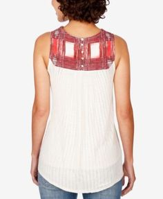 Lucky Brand Embroidered Ribbed Top - Tan/Beige XL