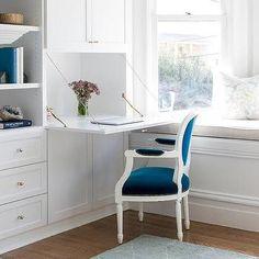Drop Down Desk with Blue Velvet Louis Chair